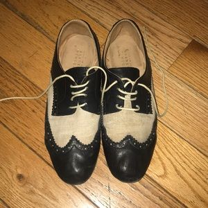 Black and Cream Saddle Oxfords